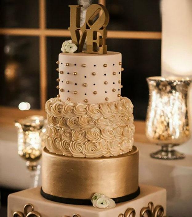 torta para boda elegante tamaño mediano