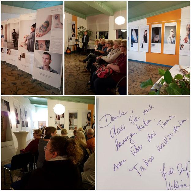 """Ausstellung """"Trauertattoo"""" in Wolfen im Frauenzentrum, November 2017"""
