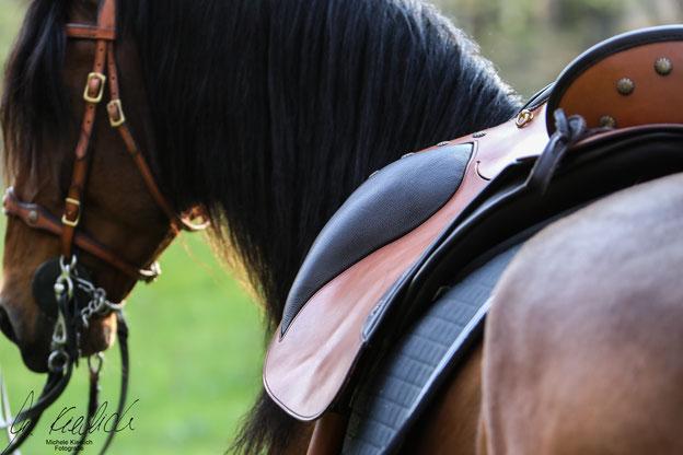 Deuber El Campo auf dem Pferd mit Satteldecke. Symbolbild für die Kategorie Working Equitation.