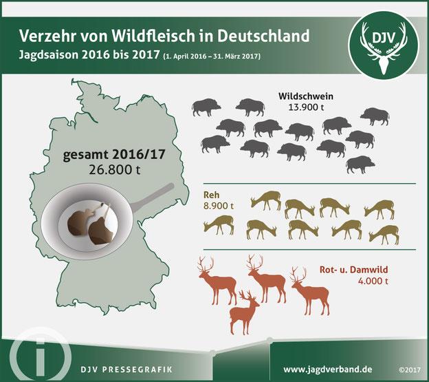 Fast 27.000 Tonnen heimisches Wildbret kamen im vergangenen Jagdjahr auf den Teller. Quelle: DJV