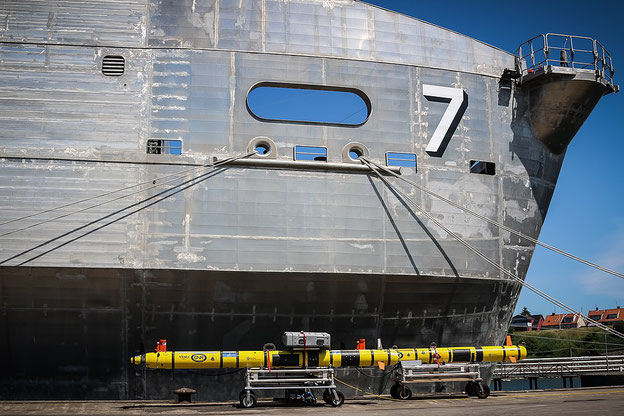 Friction stir welded panels in the bow section of the USNS 'Carson City' (T-EPF-7)