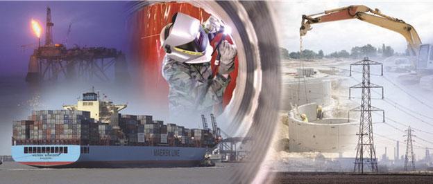 Industriesektoren, die vom TWI bedient werden: Schiffbau, Öl- und Gasindustrie, Maschinen und Zusatzwerkstoffe zum Schweißen, Bauindustrie und Energieversorgung
