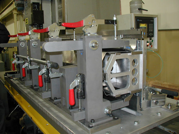 Fixture for friction stir welding of the centre tunnel of the Ford GT using an ESAB SuperStir™ machine.