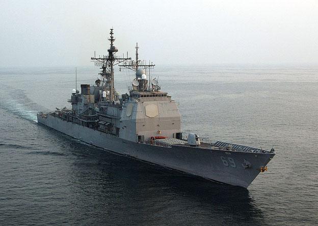 Der Lenkraketen-Kreuzer 'USS Vicksburg' (CG 69)