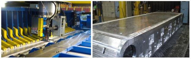 FSW in der Joint Systems Manufacturing Facility (JSMC) in Lima, Ohio, und Schweißnähte an der Unterseite des 'Military Vehicle Demonstrator' aus AA5059-Aluminium