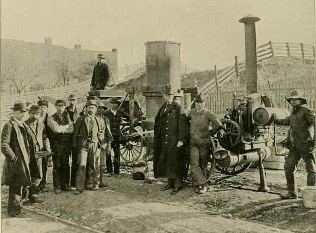 Bereit für die Arbeit: Die Falk Manufacturing Co in St. Louis beim Verschweißen von 5 km durchgehend geschweißtem Gleis