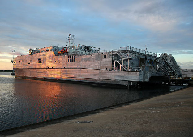 The roots of the friction stir welded aluminium panels are clearly visible on USNS 'Yuma' (T-EPF-8)