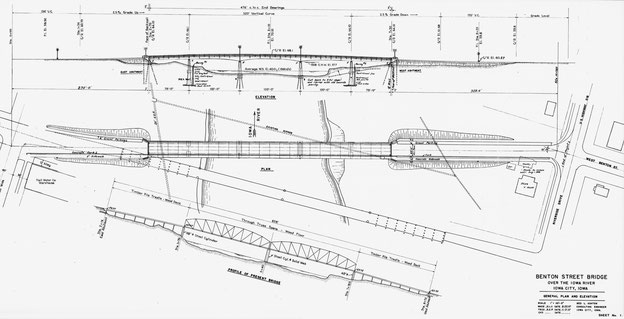 Benton Street Bridge in Iowa City - General plan and elevation. Sheet No. 1