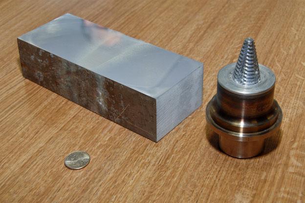 Friction stir welding of a 3 inch (75 mm) armoured aluminium plate.
