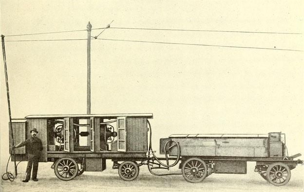 Die Schienenschweißausrüstung der Accumulatorenfabrik AG, bestehend aus Motor-Generator-Wagen und Batterie-Wagen