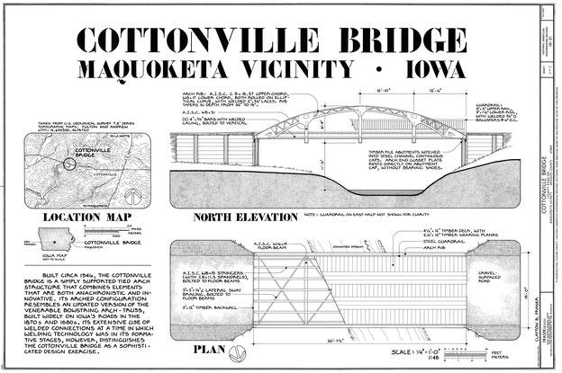 Die Cottonville-Brücke ist eine einfach getragene Stabbogenkonstruktion, die sowohl anachronistische als auch innovative Elemente kombiniert.