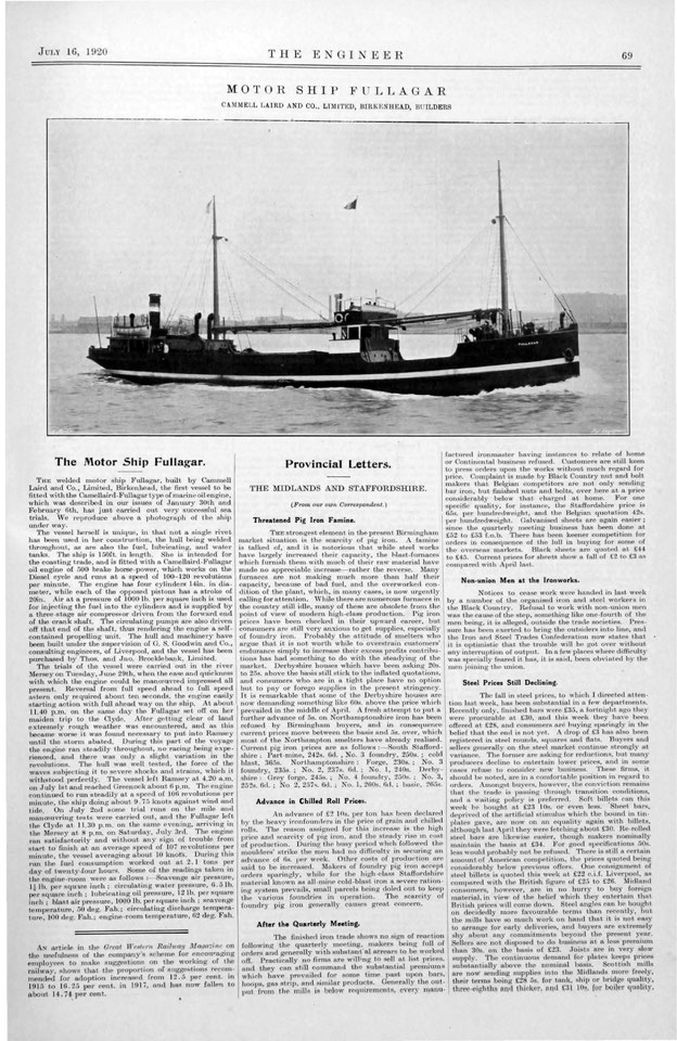 Fullagar, the world's first fully welded ship, as shown in The Engineer, 16 July 1920