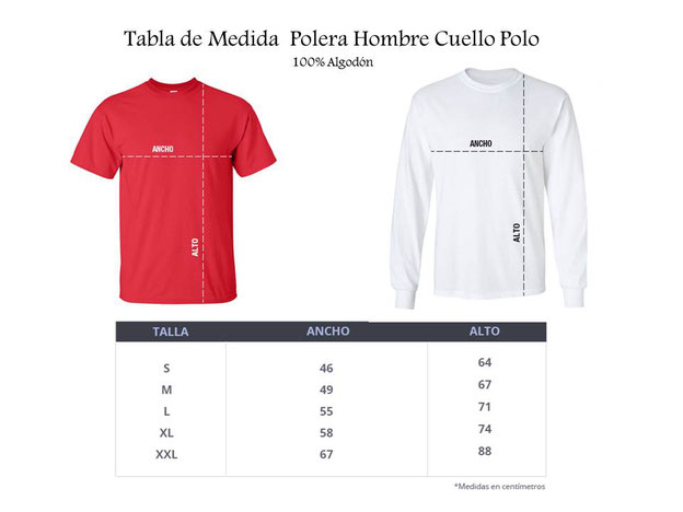 Tabla de Medidas para determinar Talla en Polera Hombre cuello polo o V, para práctica Tai Chi en WCTA Chile