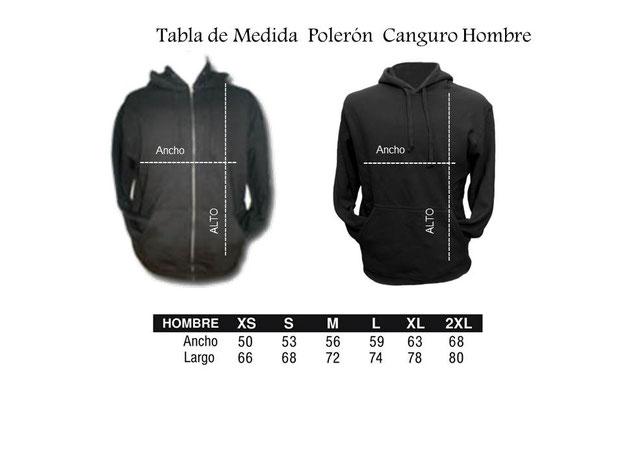 Tabla de Medida para Poleron Hombre Canguro y Con Cierre ambos con Capucha para Tai Chi en WCTA Chile