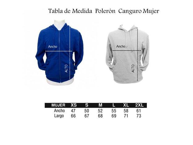 Tabla de Medida para determinar Talla en Polerón de Mujer Canguro y/o con Cierre y Capucha para Tai Chi en WCTA Chile