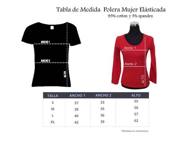 Tabla de Medidas para determinar  Talla en poleras elasticadas mujer para Practica Tai Chi en WCTA Chile