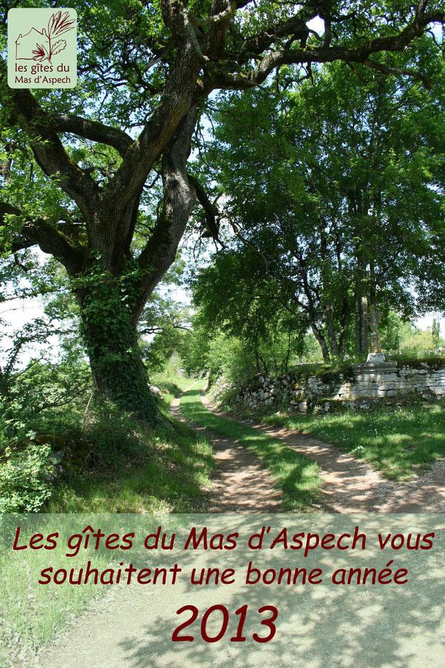 Meilleurs Voeux 2013 - les gîtes du Mas d'Aspech dans le Lot 46 - le chêne et la croix du Mas d'Aspech