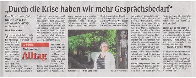 Presseartikel über die Adipositas Selbsthilfegruppe (SHG) München Altperlach in der Münchner Abendzeitung vom 14. Mai 2020, Seite 6