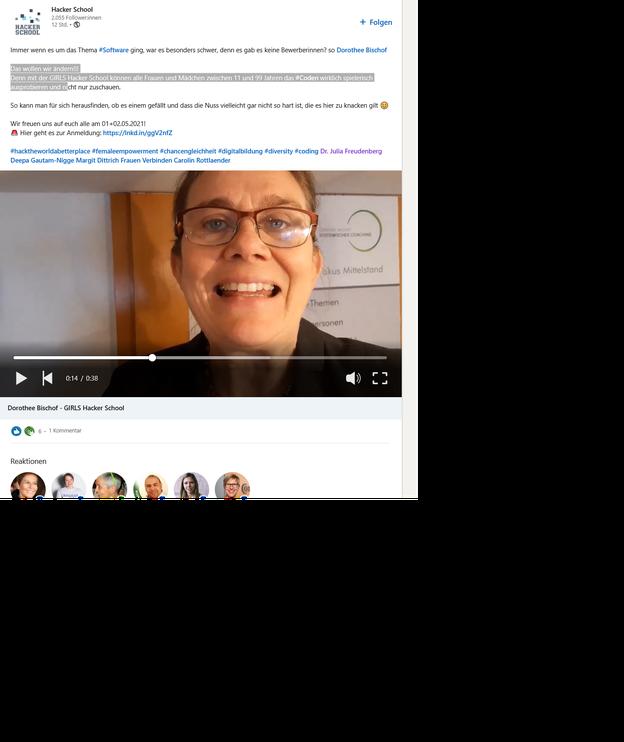 Dann schaut euch das Viideo im LinkedInAccount der Hacker School, Hamburg an: https://www.linkedin.com/company/hckr-school/posts/?feedView=videos