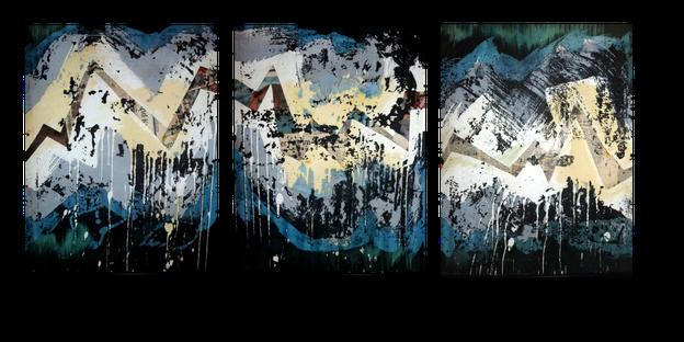 """""""Puls"""" - Wachsreserviertechnik auf Leinwand, Collage. Dreiteiler, jeweils 40 x 50 cm. 2015  [verkauft]"""