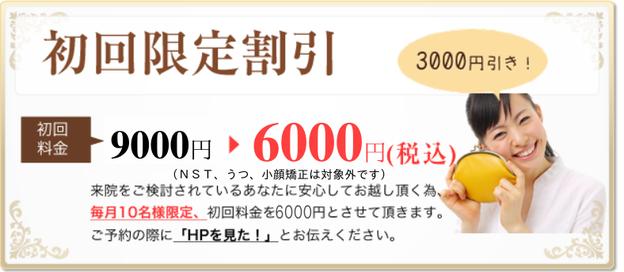 初回限定割引の画像 9,000円→6,000円