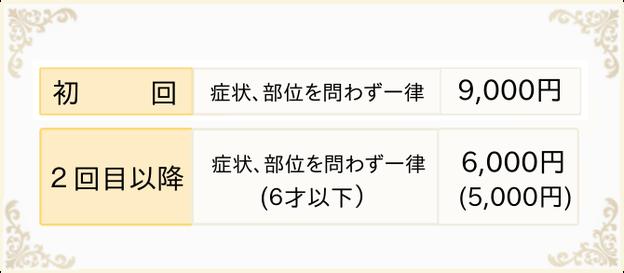 一般施術の料金、初回9,000円 2回目以降6,000円(6歳以下5,000円)