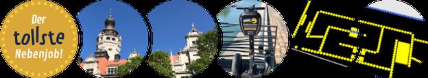 Titelbild Stadtstromer: Uni-Riese, Rosental, Thomaskirche, Elstersperrwehr, Völkerschlachtdenkmal bei Nacht, Doppel-M Messegelände Leipzig