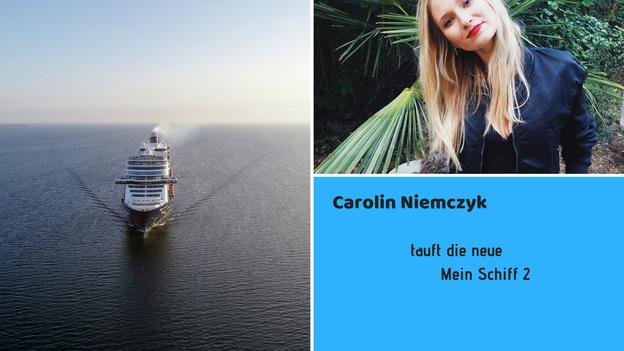 Carolin Niemczyk tauft die neue Mein Schiff 2 // Bild 1 (Drohnenbild Mein Schiff 1): © TUI Cruises / Bild 2 (Carolin Niemczyk): © Instagram / @carolinniemczyk