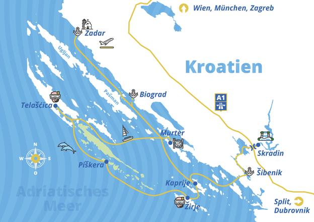 Yacht-Urlaub Kornaten-Route