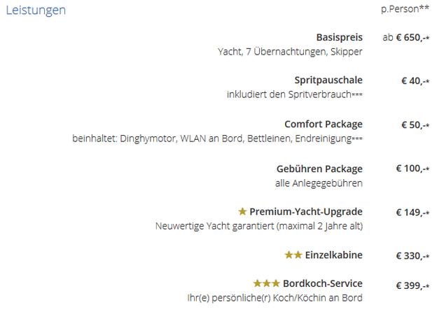 Preisliste für Griechenland-Package bei Yacht-Urlaub