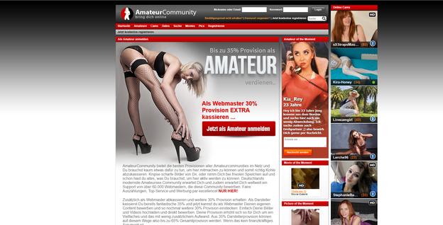 Die Anmeldeseite für Webcamgirls bei der Amateurcommunity