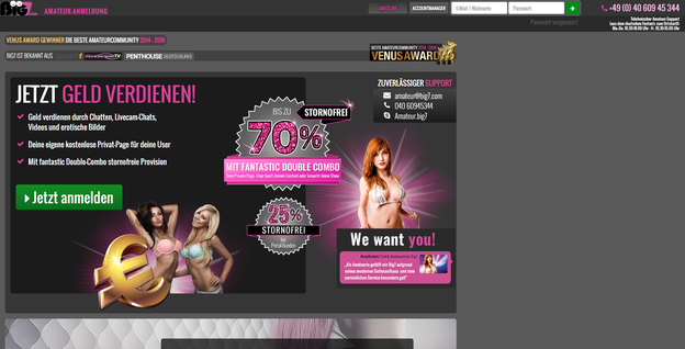 Die Anmeldeseite für Webcamgirls bei Big7
