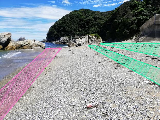 浜のシーグラス分布図