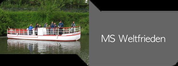 MS Weltfrieden - mit dem Boot über den Karl-Heine-Kanal und die Weiße Elster in Leipzig