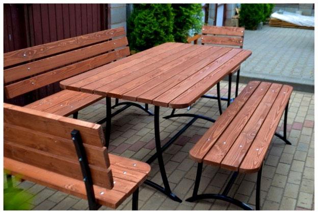 Стол садовый деревянный 2х1м со скамейками и стульями
