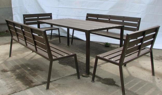 Стол садовый деревянный 2х1м со скамейкой и стульями