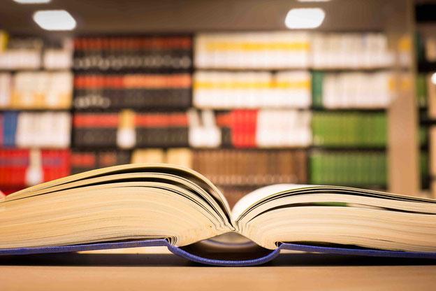 Offenes Buch vor Bücherregal