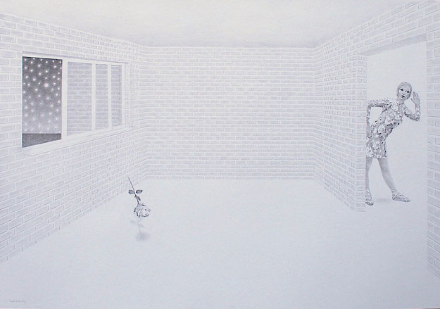 Strange Night. 70 x 100 cm. Pencil on paper