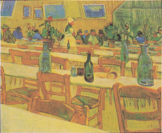 フィンセント・ファン・ゴッホ「アルルのレストラン・キャレル内のインテリア」(1888年)