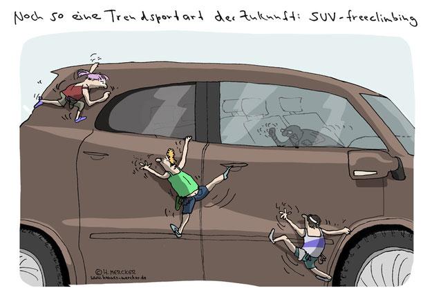 Cartoon von H. Mercker über schiere Größe (2020)