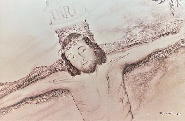 Jesus am Kreuz, Kohle 2018