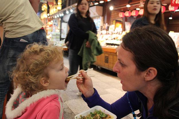Family Friendly Walks in Kyoto, Japan - Nishiki Market - Takoyaki