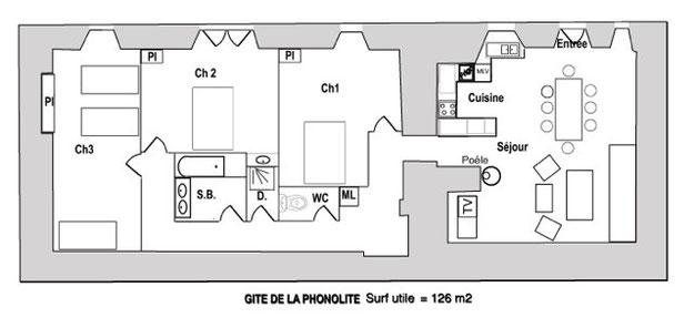 Plan de masse Gîte La Phonolite 3 étoiles