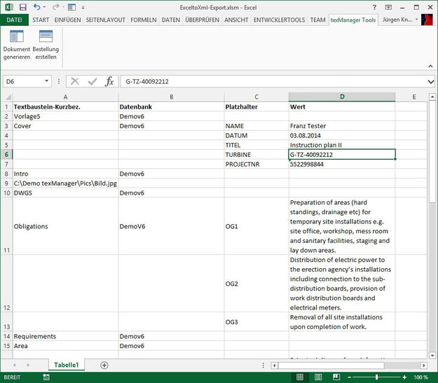 Excel-Tabelle mit der Word-Dokumentenstruktur