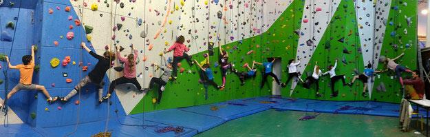 Une frise de plus de 20 m pour le groupe de 14 grimpeurs du mardi soir. Bravo !