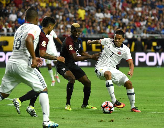 Actuellement, en sélection, comme ici lors de la Copa América Centenario, c'est Carlos Bacca qui porte le n°7
