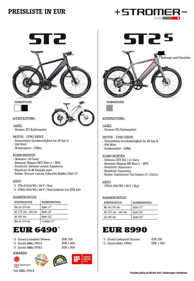 Preise und Ausstattung Stromer e-Bikes