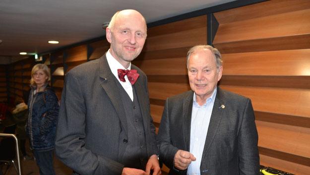 Präsidenten-Treffen: Rotary-Chef Jens Bosse  konnte als Gast auch den Lions-Präsidenten Stefsn Böhme begrüßen