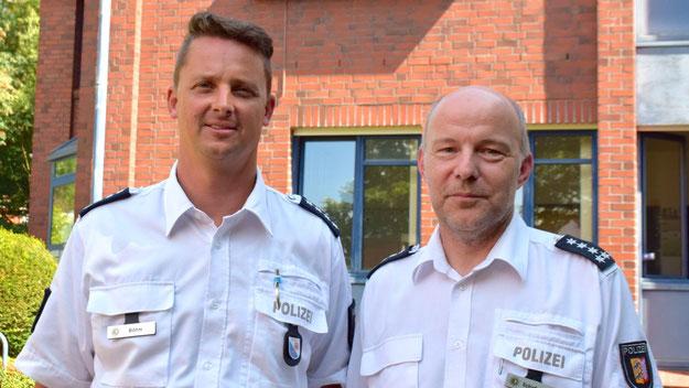 Mike Schirdewahn, als Leiter des Polizeireviers Rellingen Böhms Dienstvorgesetzter, lobte im Pressegespräch den neuen Quickborner Revierleiter