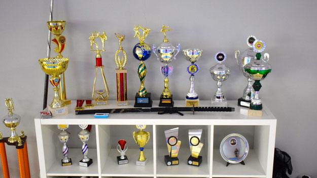 Viele Pokale schmücken die Trainingsräume.
